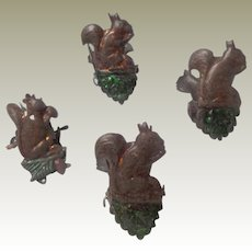 Four Squirrel Christmas Tree Candle Clips German c1910