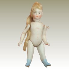 SFBJ All Bisque French Lilliputian Doll Blue Boots c1910