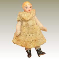 Teeny Hertwig Bisque Doll In Lace Dress c1910