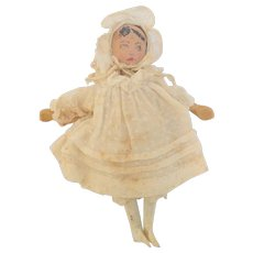 Home Spun Wooden Doll Lovely Clothing