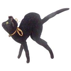 Rare Blank Button Steiff Black Velvet Tom Cat c1905