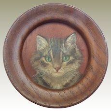 Beautiful Small Oil Painting Of A Cat c1915
