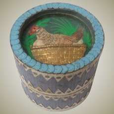 Pictorial Collage Topped Bead Box 19th C