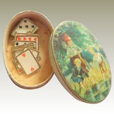 Tiny Oval Litho Box With Playing Cards c1900