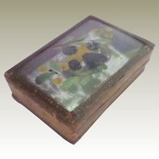 Miniature Reverse Painted Victorian Box c1860