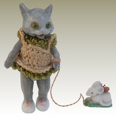 Rare Hertwig Glass Eyed Bisque Cat With Pet Mouse On Lead c1910