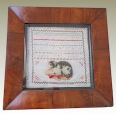 Sampler With Raised Woolwork Cat c1860