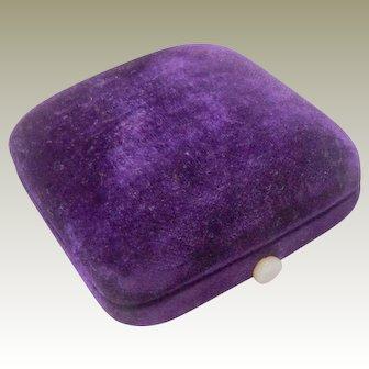 Antique Purple Velvet Jewel Box c1880