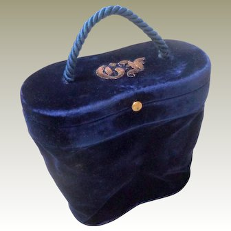 Midnight Blue Silk Velvet Case Monogram c1890