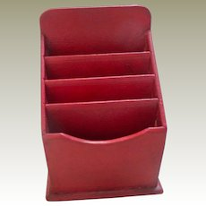Antique Red Leather Stationery Box c1910