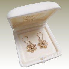 Victorian Seed Pearl Flower Design Drop Earrings c1890