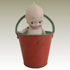 Tiny Painted Tin Plate Sand Pail c1930