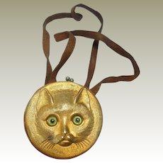 Miniature Glass Eyed Cat Faced Purse c1910