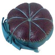 Perfect Burgundy Leather Pin Cushion c1860