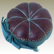 Perfect Burgundy Leather Pin Cushion c1860