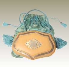 Victorian Leather & Silk Purse c1880