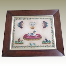 Vibrant Beaded Picture Worked On Bristol Card c1860