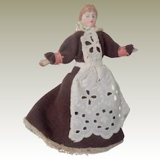 German Bisque Head Dolls House Maid Doll c1910