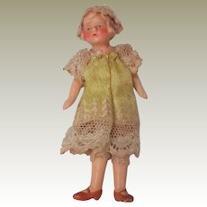 Bisque Dolls House Doll In Original Clothing