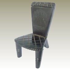 Whitby Jet Dolls House Chair As Found c1890