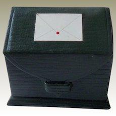 Miniature Green Leather Stationery Box
