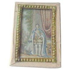 Nice Glazed Baxter Print Needle Box c1850