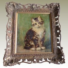 Antique Oil Painting Kitten c1910