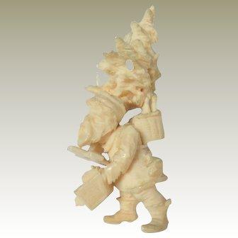 Rare Miniature Father Christmas Santa Carrying Tree c1890