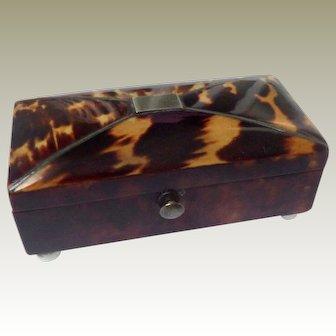 Tiny Faux Tortoiseshell Pin Box c1840