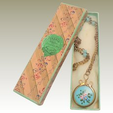 Antique French Doll's Enamel Watch On Chain c1900