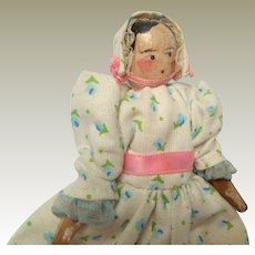 Small German Peg Wooden Doll For Dolls House c1900