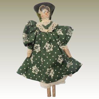 Smiling Peg Wooden Doll Original Clothing c1910