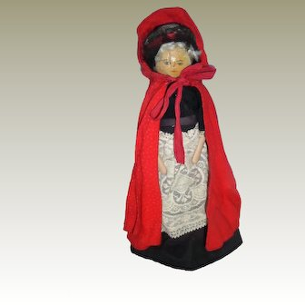 Unusual Peg Wooden Doll Great Clothing c1900