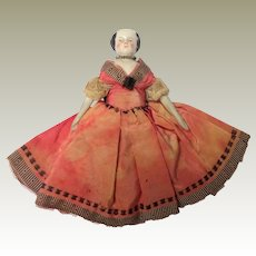 Flat Top Pink Tint China Doll For Dolls House c1880