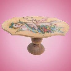 Cherub Motif Wooden Table For Dolls House c1900