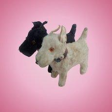 White & Black Scotty Dog Putz Figures
