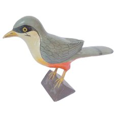 Antique Hand Carved Painted Wooden Bird Folk Art