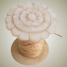 Mother Of Pearl Spool Holder Flower Carved Top c1860