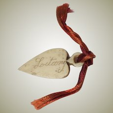 Early Heart Shaped Carved Bookmark Litany