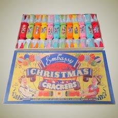 Unused Embassy Christmas Crackers In Original Box 1950's