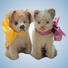 Tiny Size Steiff Blue Fluffy Cat & Molly Dog