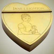 Heart Shape Box Engraved Child With Doll c1860