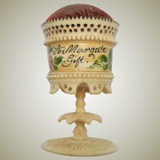 Hand Painted & Carved Pin Cushion c1840