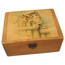 Mauchline Thread Box Kitten's c1915