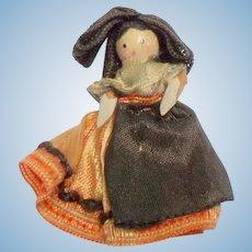 Tiny Grodnertal Wooden Doll Original Clothing