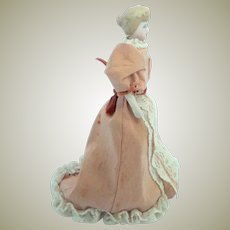 Antique German Bisque Dolls House Lady Doll With Bun c1910