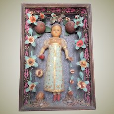 Antique Wax Doll In Shadow Box With Provenance