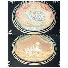 A RarePair Of Regency Silkwork Pictures Dog & Cat c1820