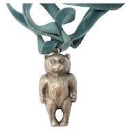 Sterling Silver Teddy Bear Rattle Hallmarked Charles Horner 1923