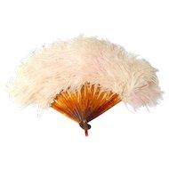 Miniature Pink Feather Fan c1920